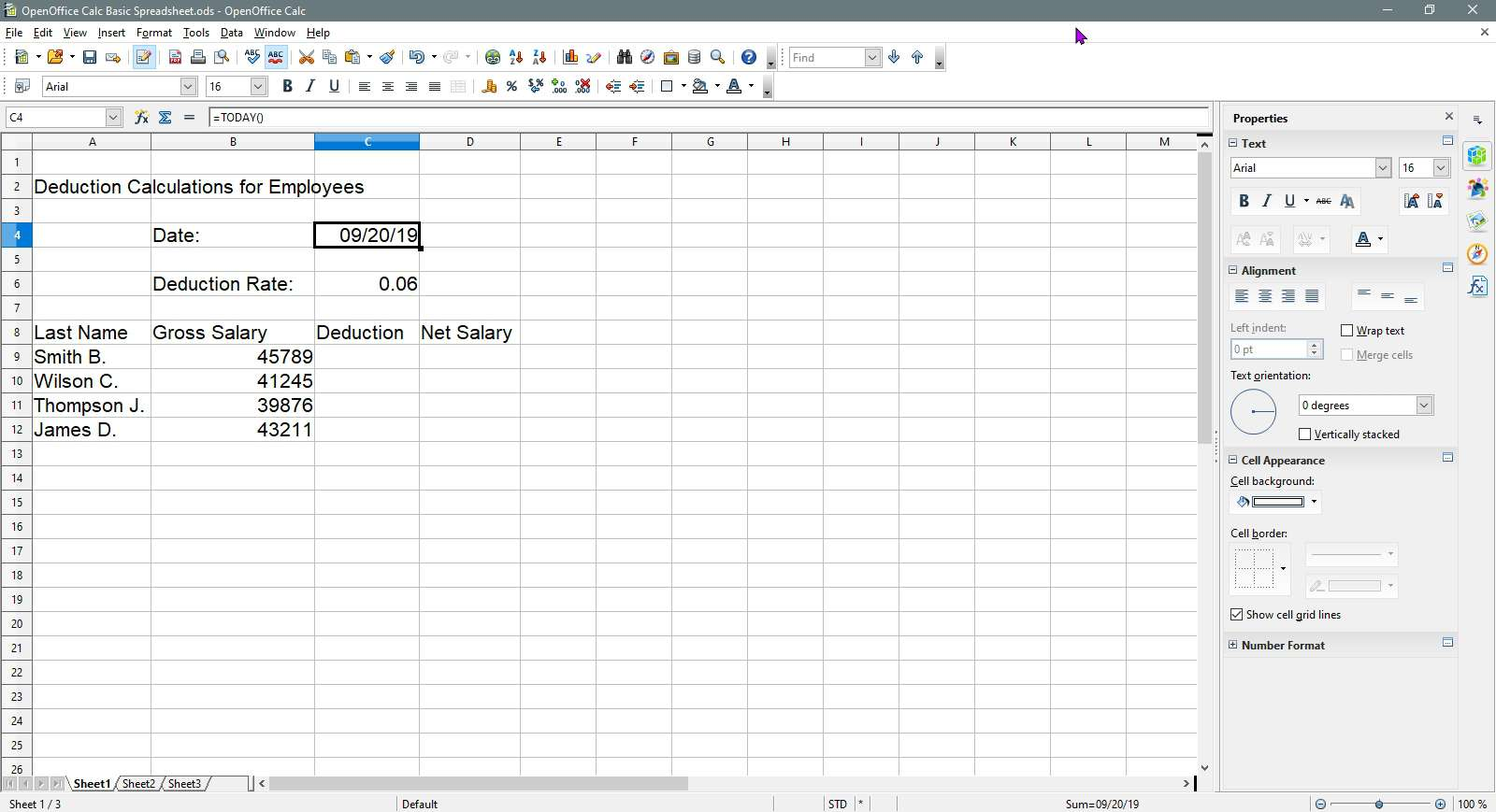 The results of the Today formula in OpenOffice Calc.