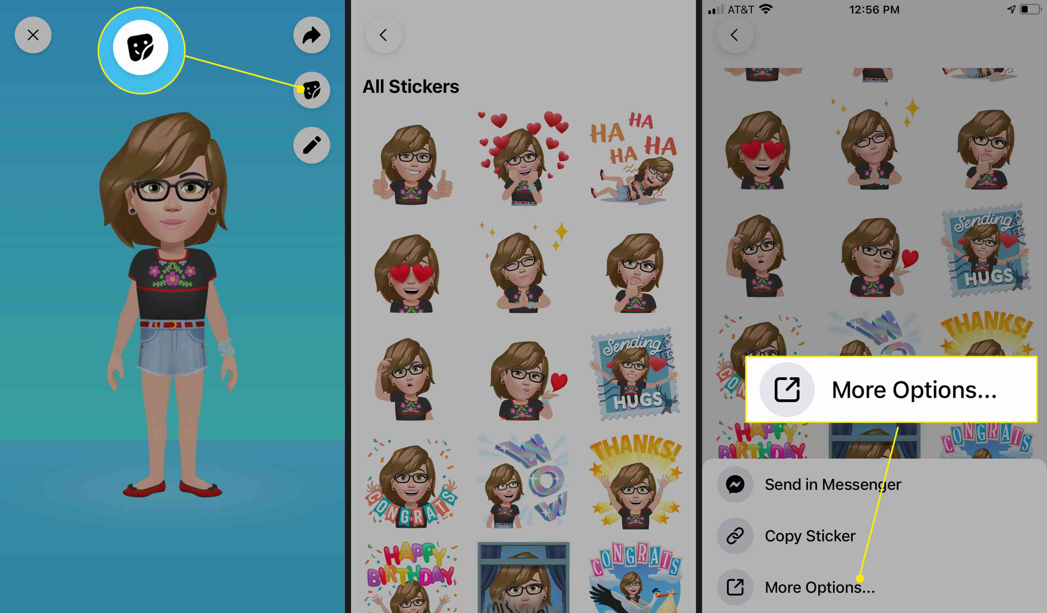 From your Avatar page, tap the Stickers icon, tap a sticker, then tap More Options.