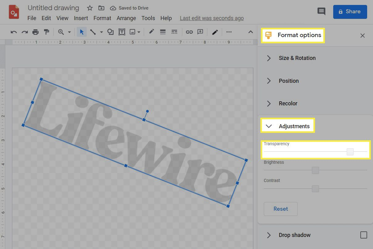 The image transparency settings in Google Drawings.
