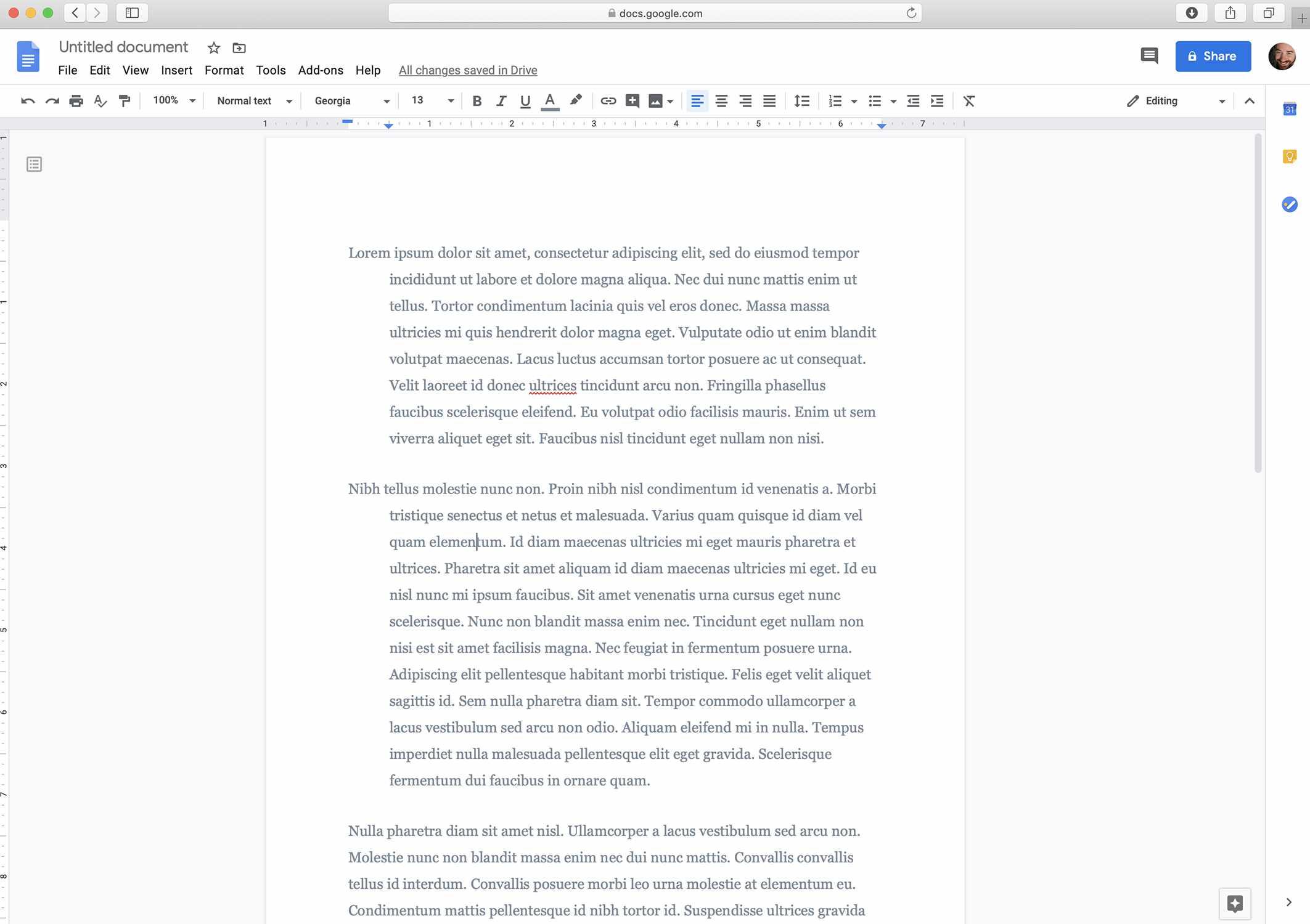 Google Docs screenshot with a hanging indent