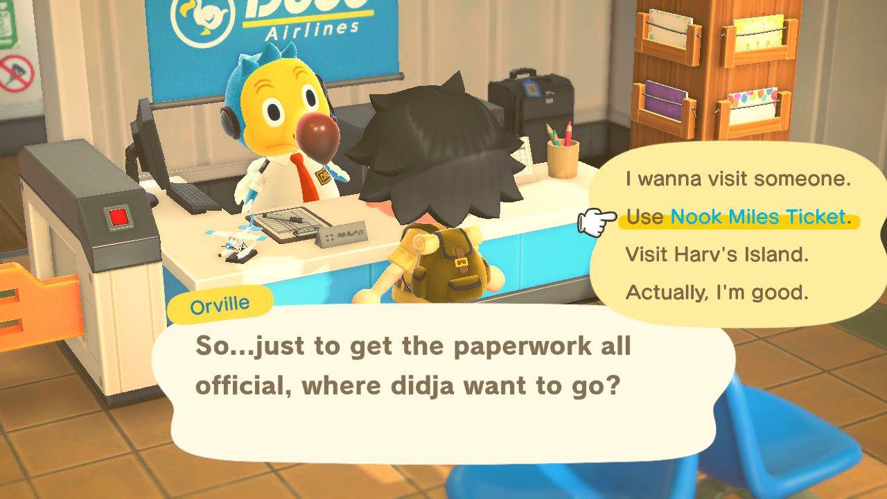 Animal Crossing character redeems Nook Miles Ticket