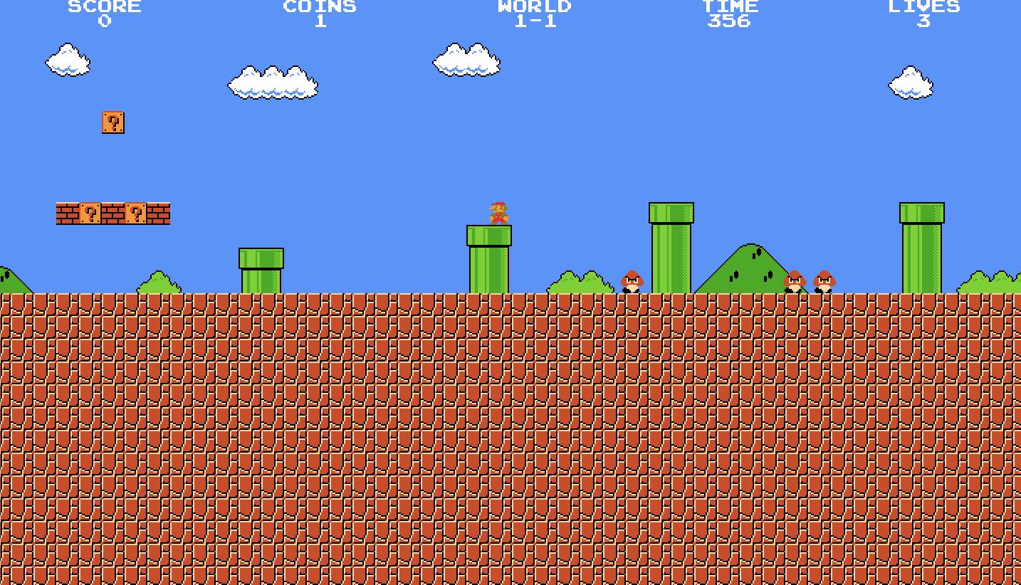 Mario stands on a pipe in Super Mario Emulator