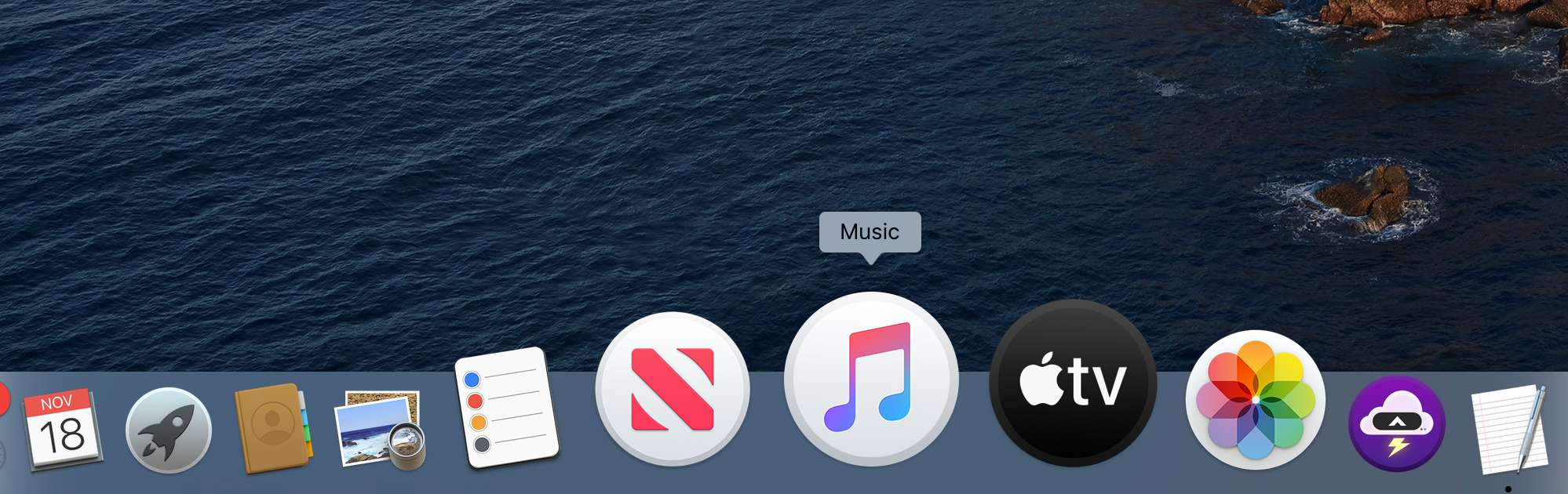 Music app icon in Catalina Dock