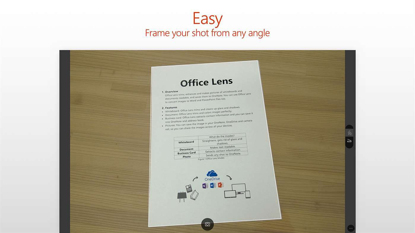A piece of printed paper being scanned by the Office Lens app