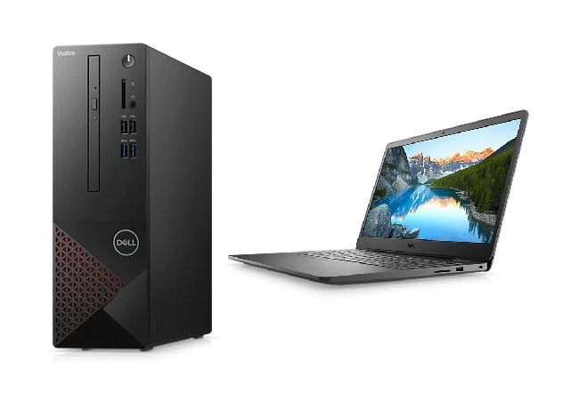 A Dell laptop next to a Dell/Intel laptop