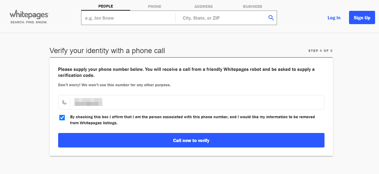 whitepages verify your identity with a phone call