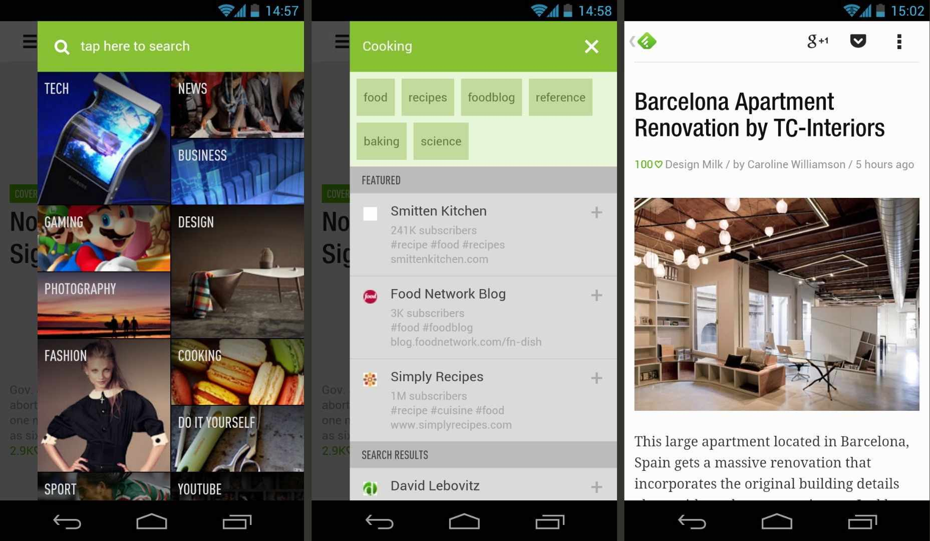 Three screenshots of Feedly for Android.