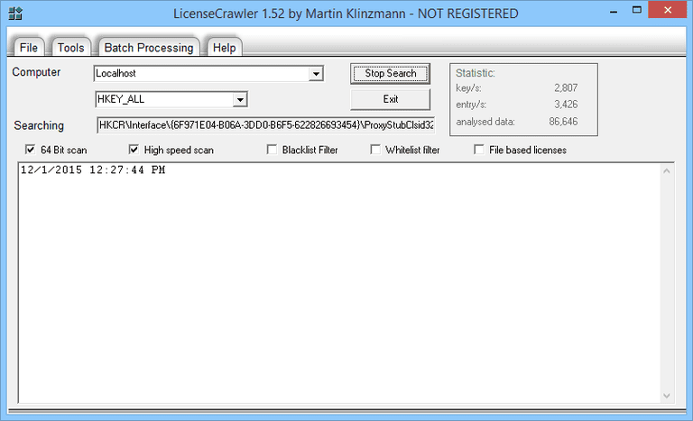 LicenseCrawler v1.52 in Windows 8