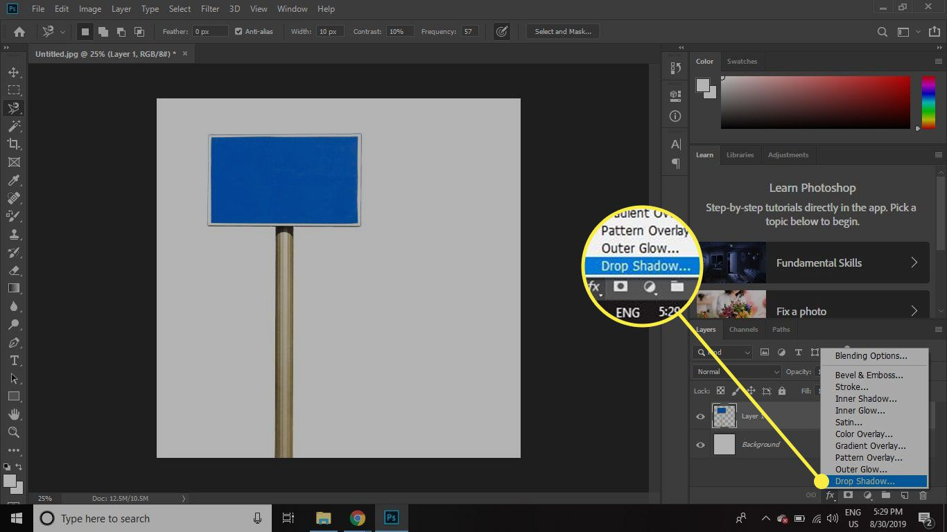 A screenshot of Photoshop with the Drop Shadow layer effect highlighted