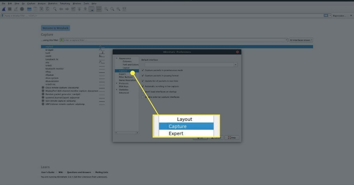 Wireshark capture preferences