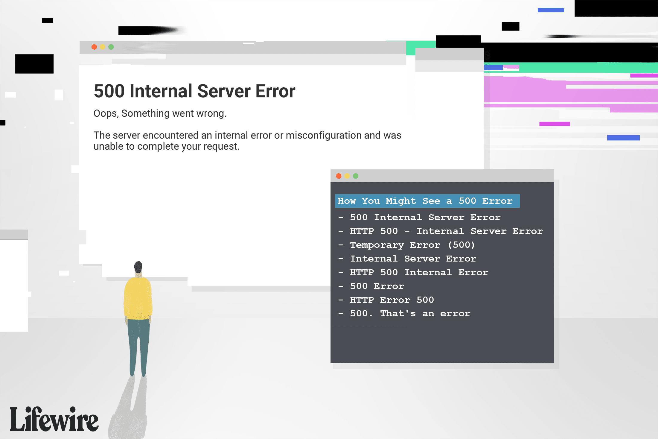 An illustration of a man looking at a 500 Internal Server Error.