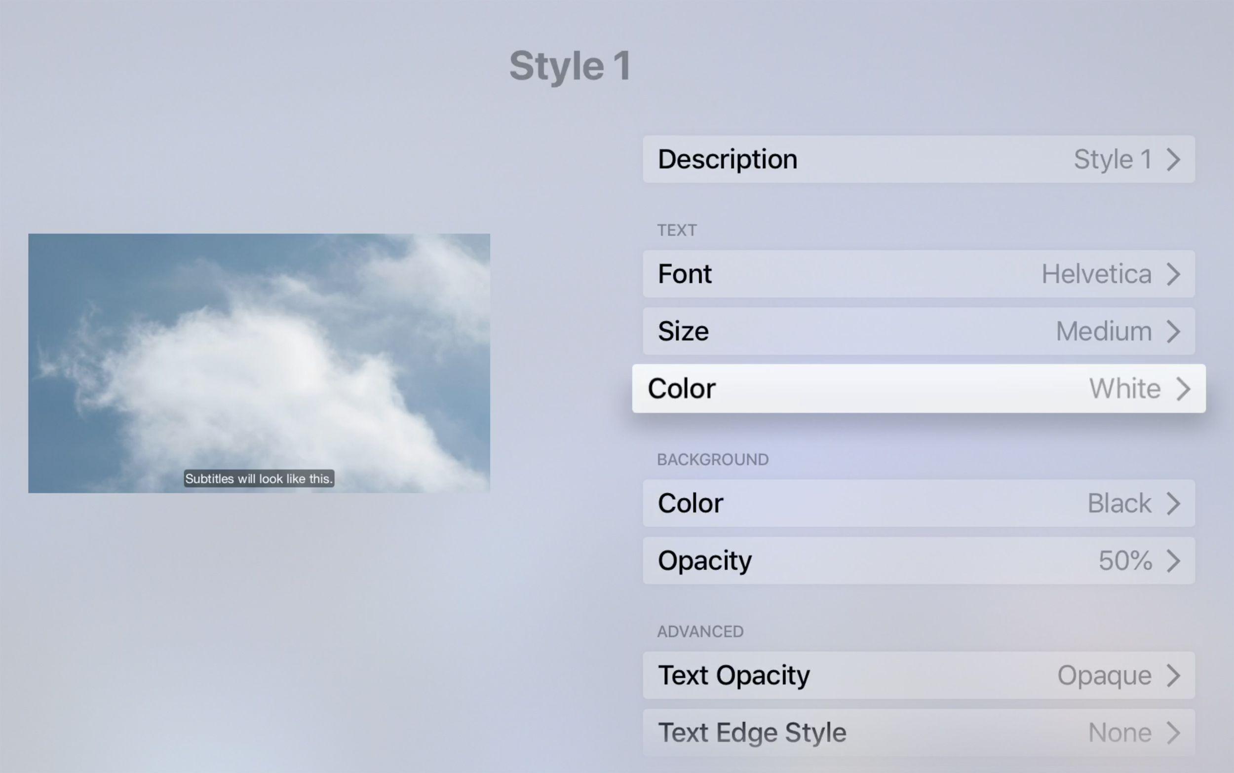Edit Apple TV subtitle styles.