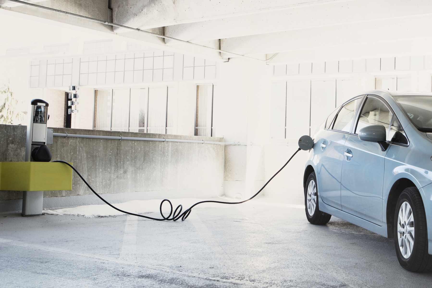 Electric car plugged in.