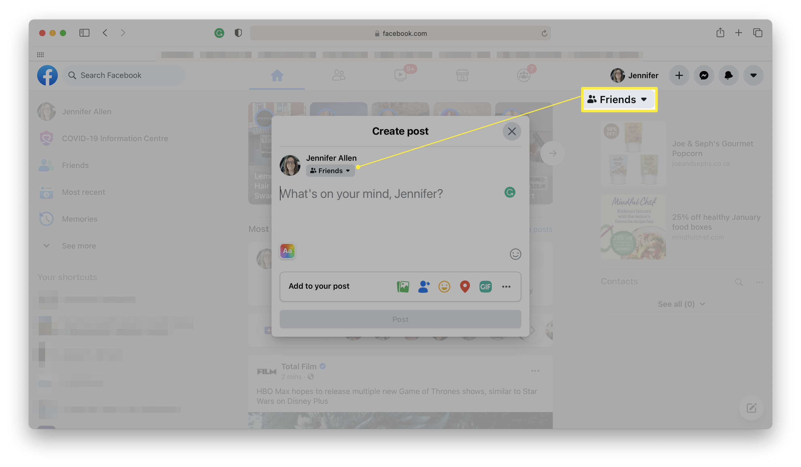 Facebook website with Create Post open and Friends highlighted