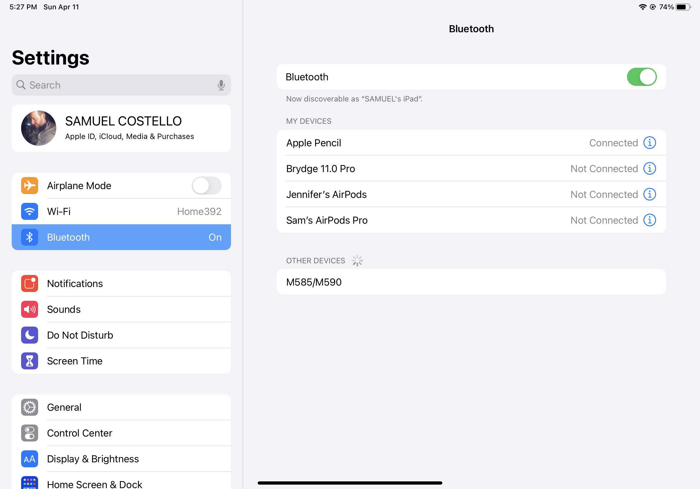 iPad bluetooth settings with a mouse ready to pair