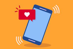 Illustration of a phone with an Instagram app heart notification