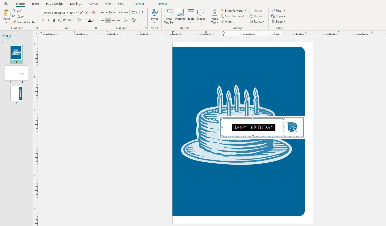 Text selected in a Publisher birthday template