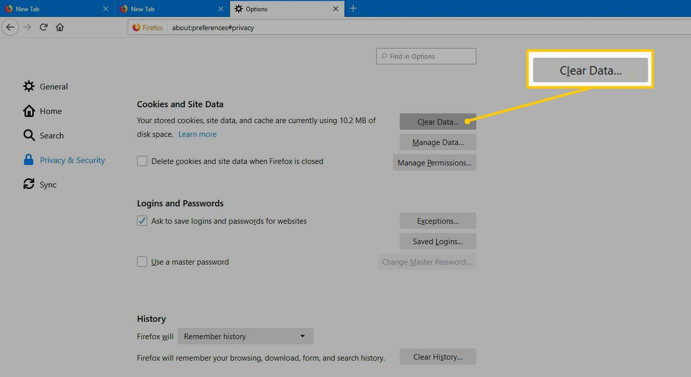 Clear Data button in Firefox