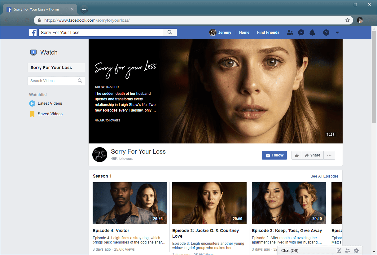 The Facebook Watch show page for Sorry For Your Loss.