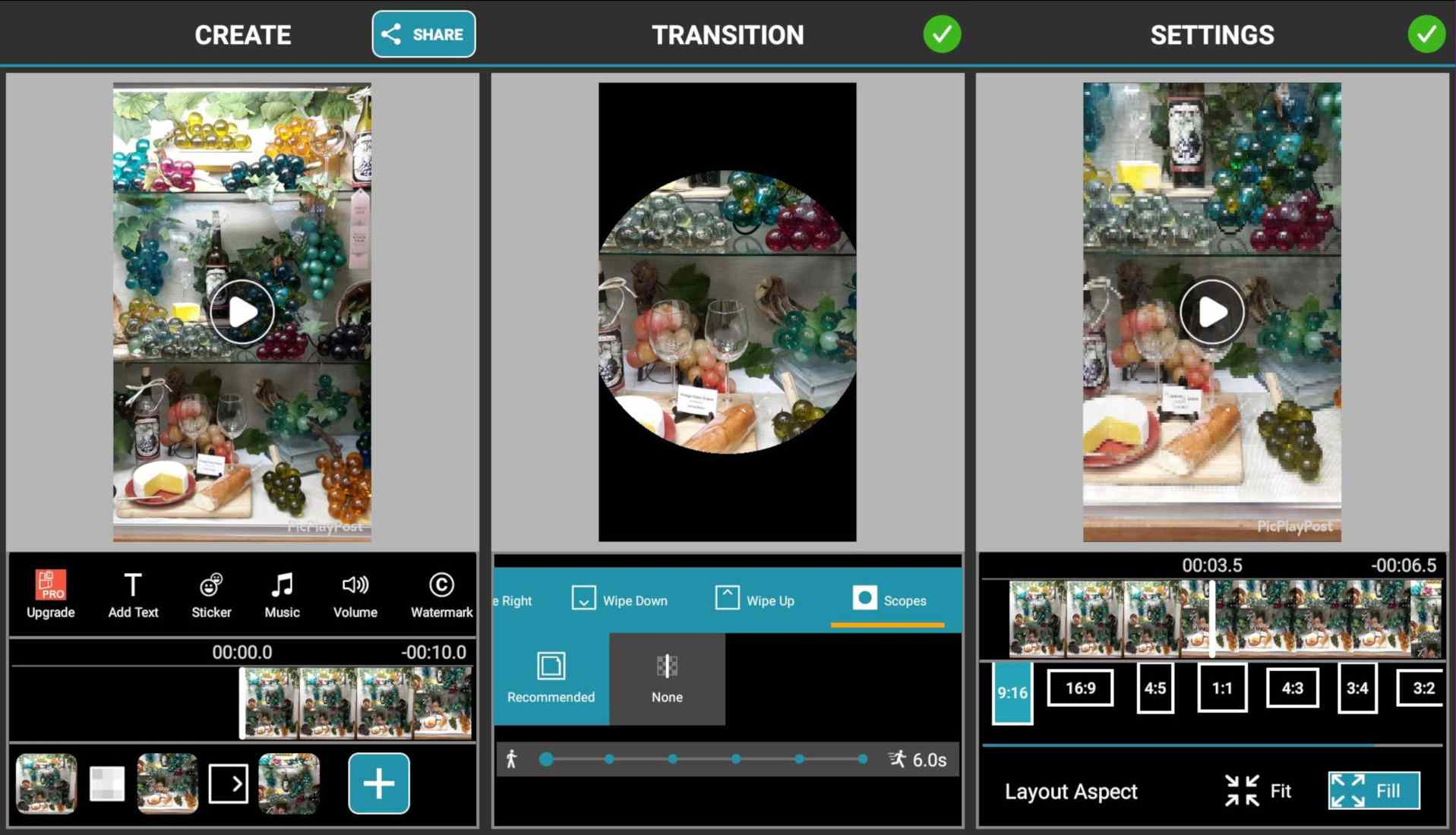 Add effects, apply a transition, and choose a layout for a PicPlayPost slideshow