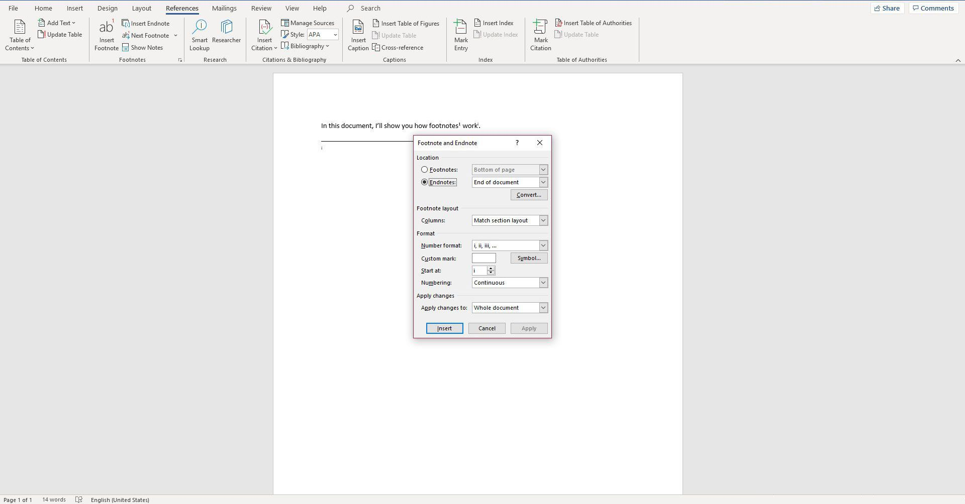 More Options window in Word
