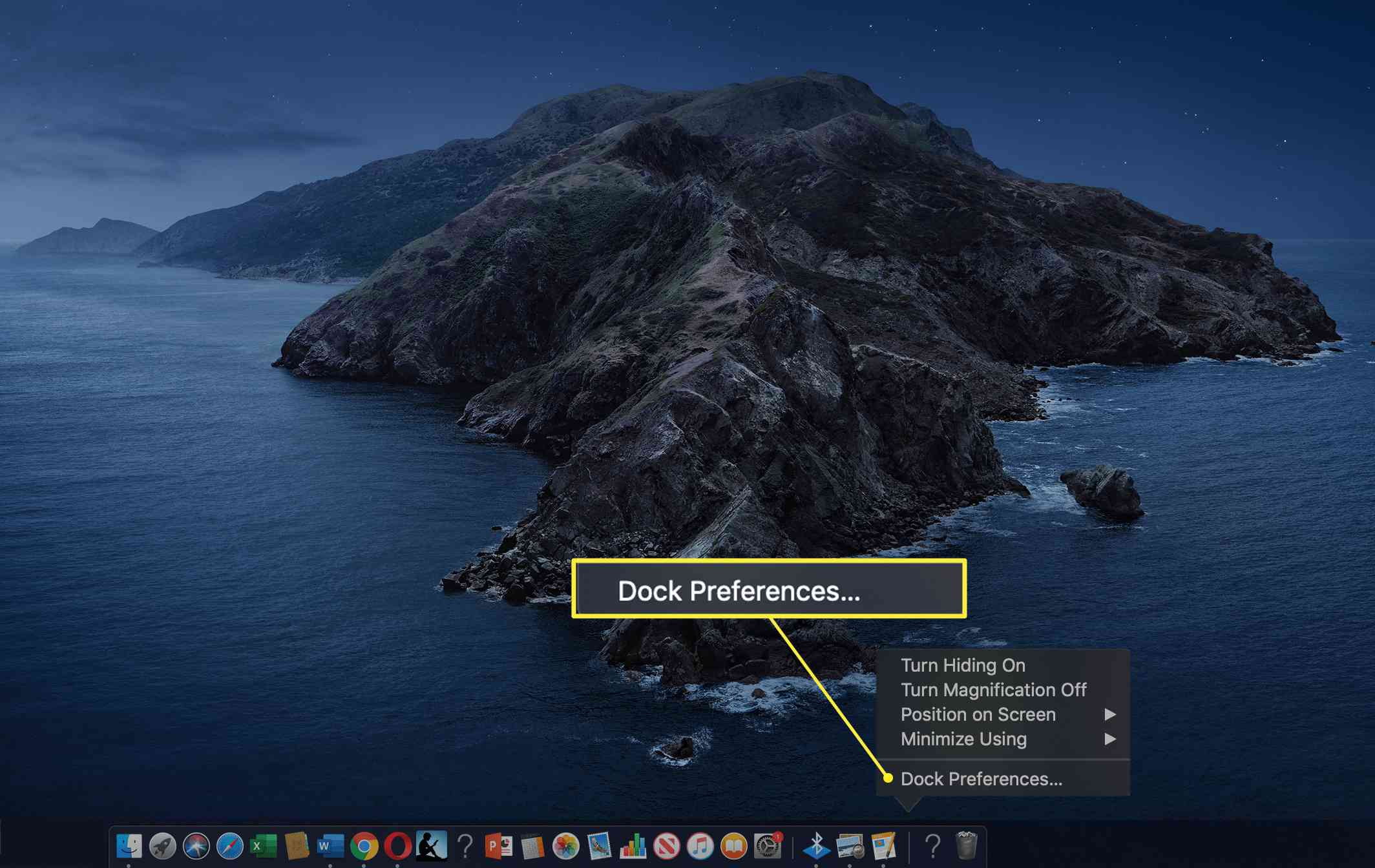 The path to the Dock Preferences on a Mac