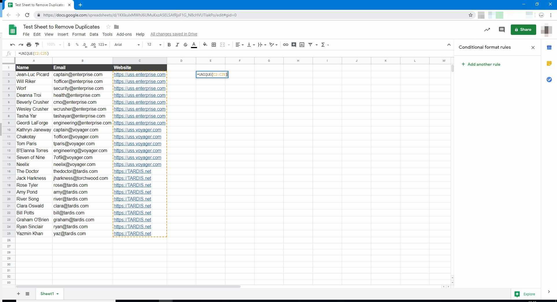 Complete Formula in Google Sheets