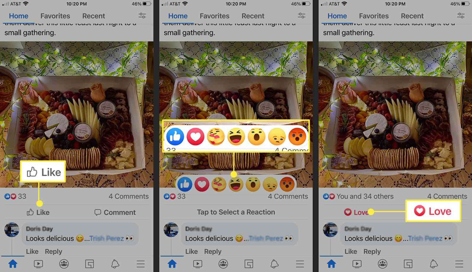 Facebook - liking a post on mobile app