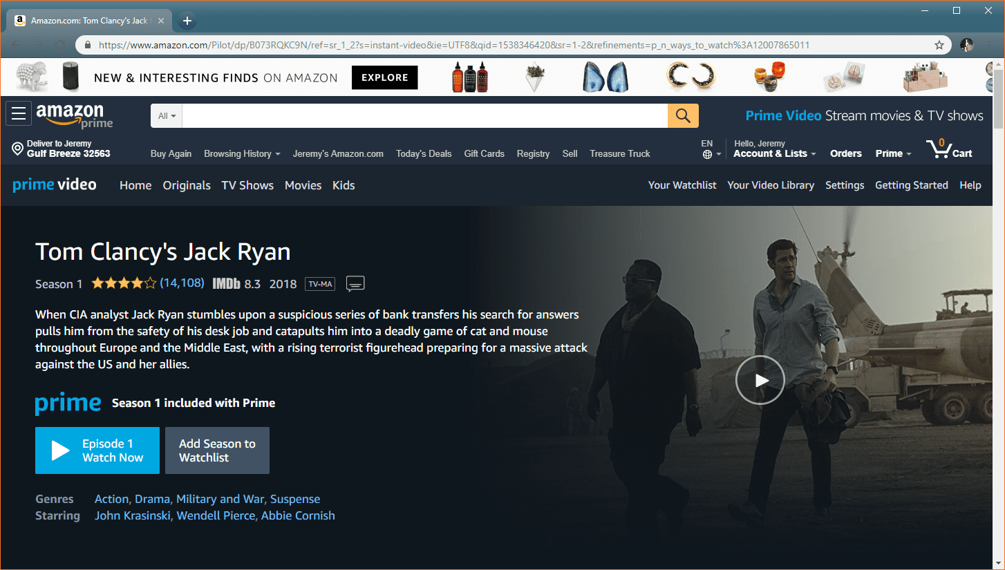 A screenshot of a television episode page on Prime Video.