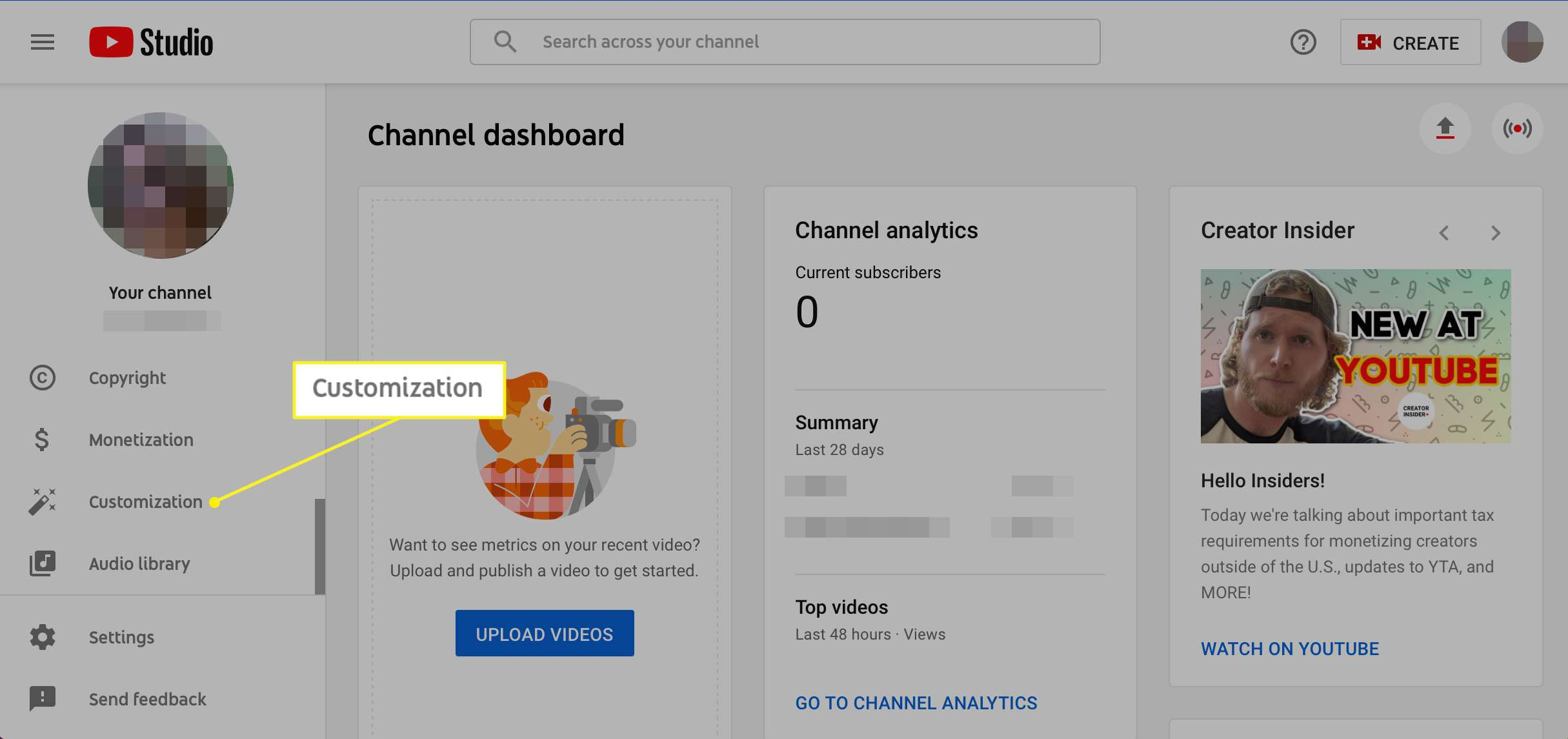 YouTube Channel sidebar with Customization selected