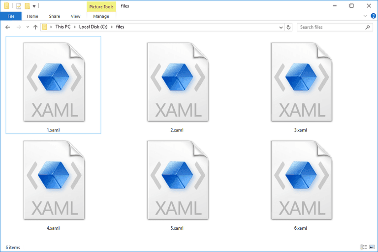 Screenshot of several XAML files in Windows 10