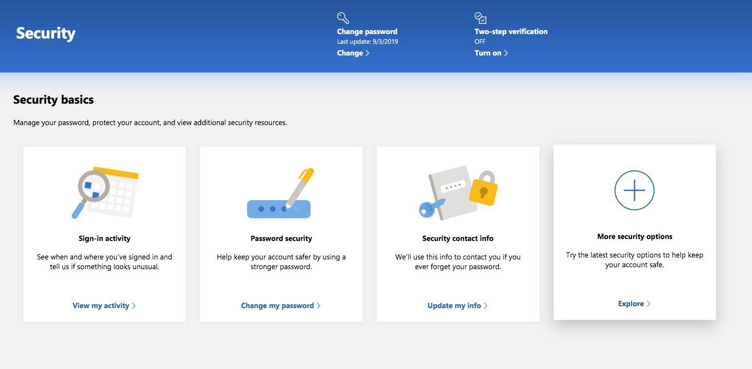 Screenshot of Outlook.com More Security Options