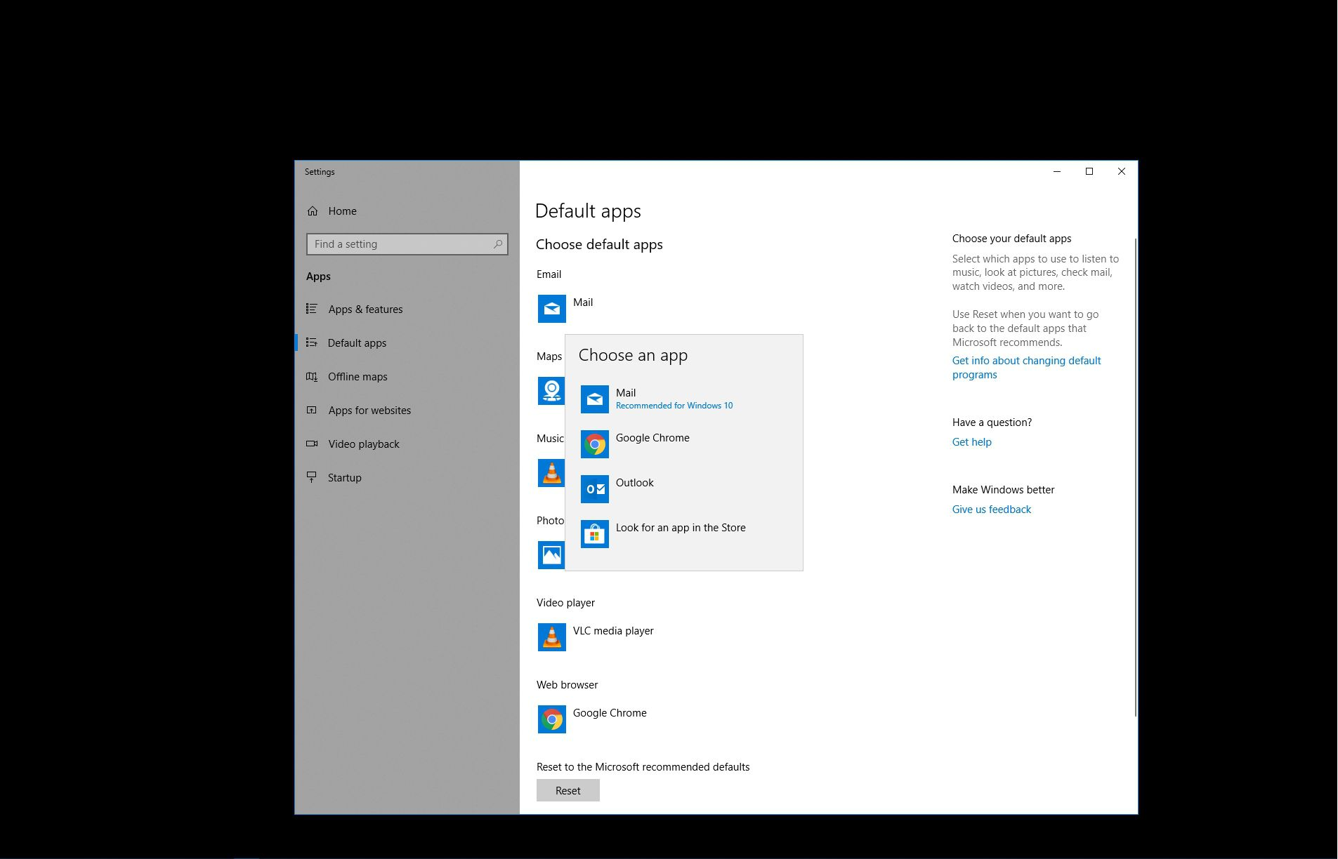 Selecting a default email client in Windows 10.