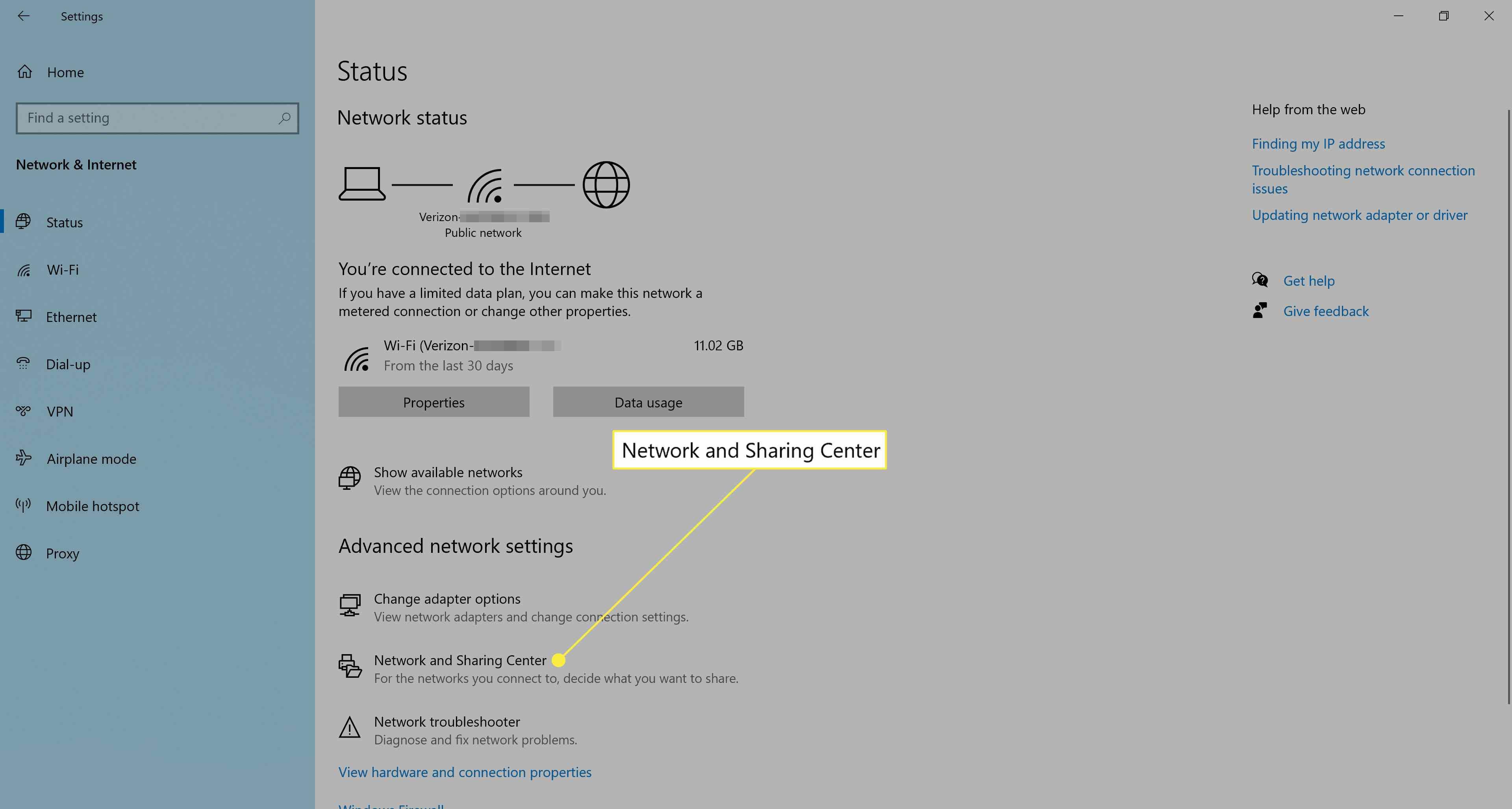 Network settings in Windows 10.