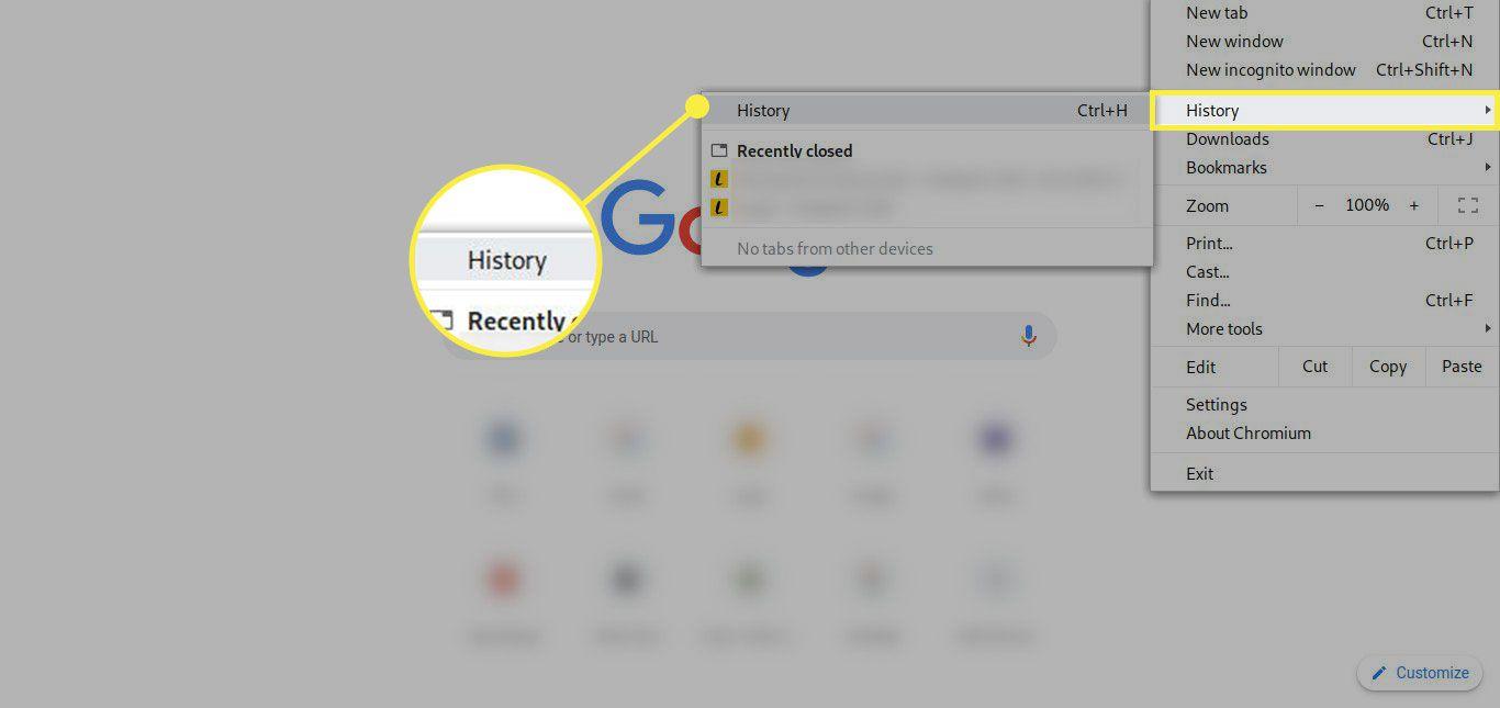 The History menu in Chrome settings
