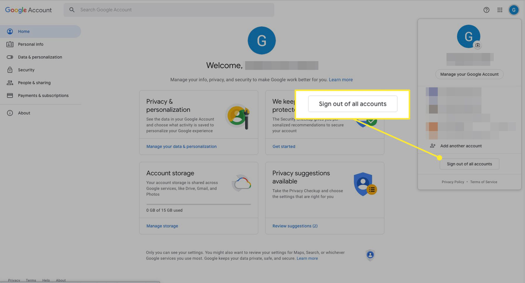 Google account with Sign Out of all Accounts highlighted
