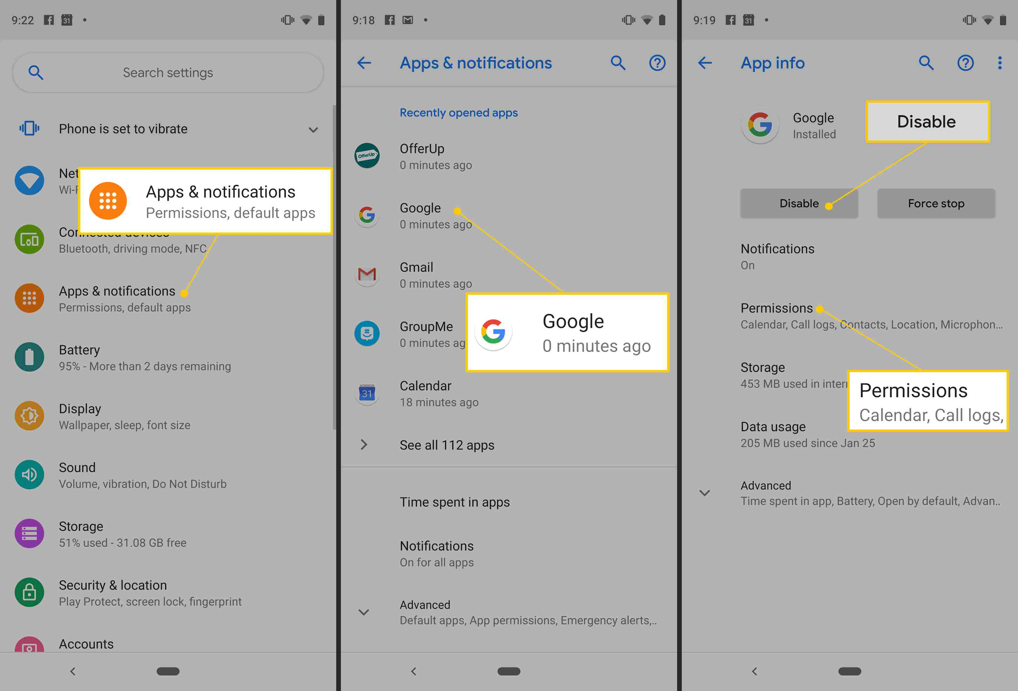 Apps & notifications, Google, Disable, and Permissions buttons in Android Settings