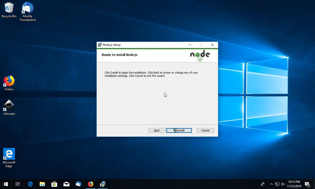 Node JS begin install on Windows