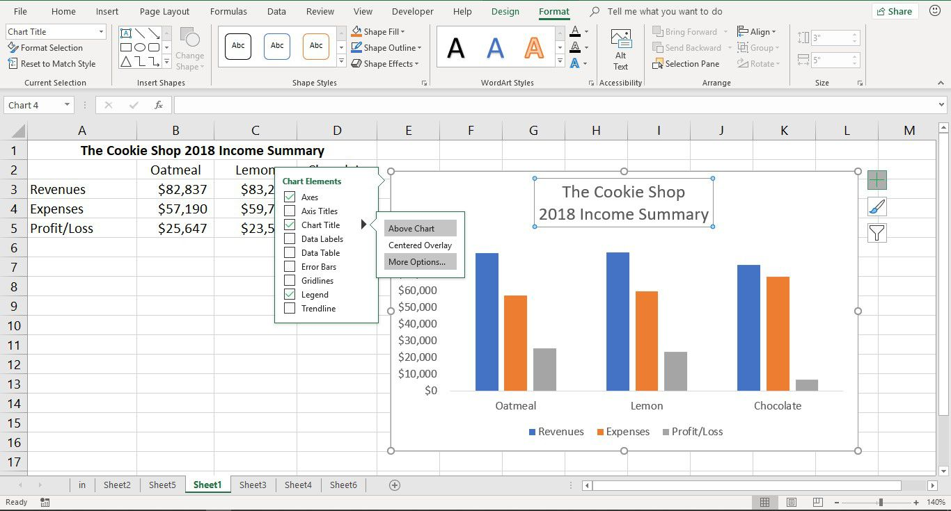 A screenshot showing how to change the location of the chart title in Excel
