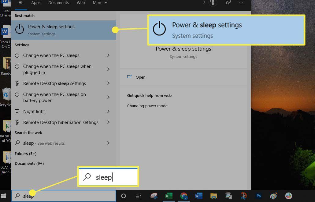 Selecting Power & sleep settings in Windows 10.