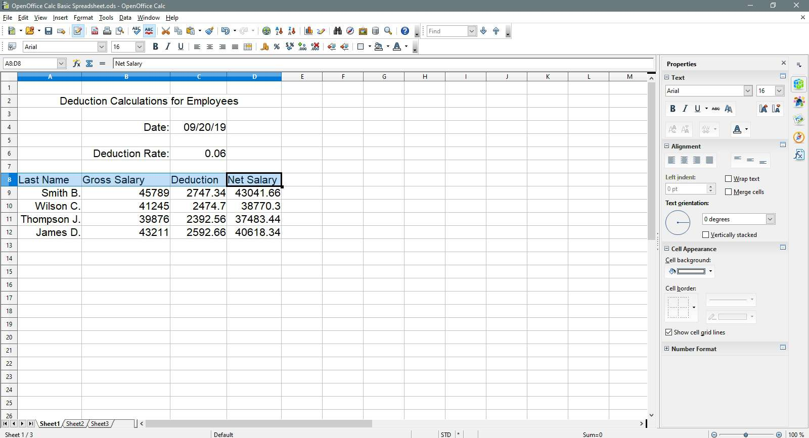 The header row is selected in OpenOffice Calc.