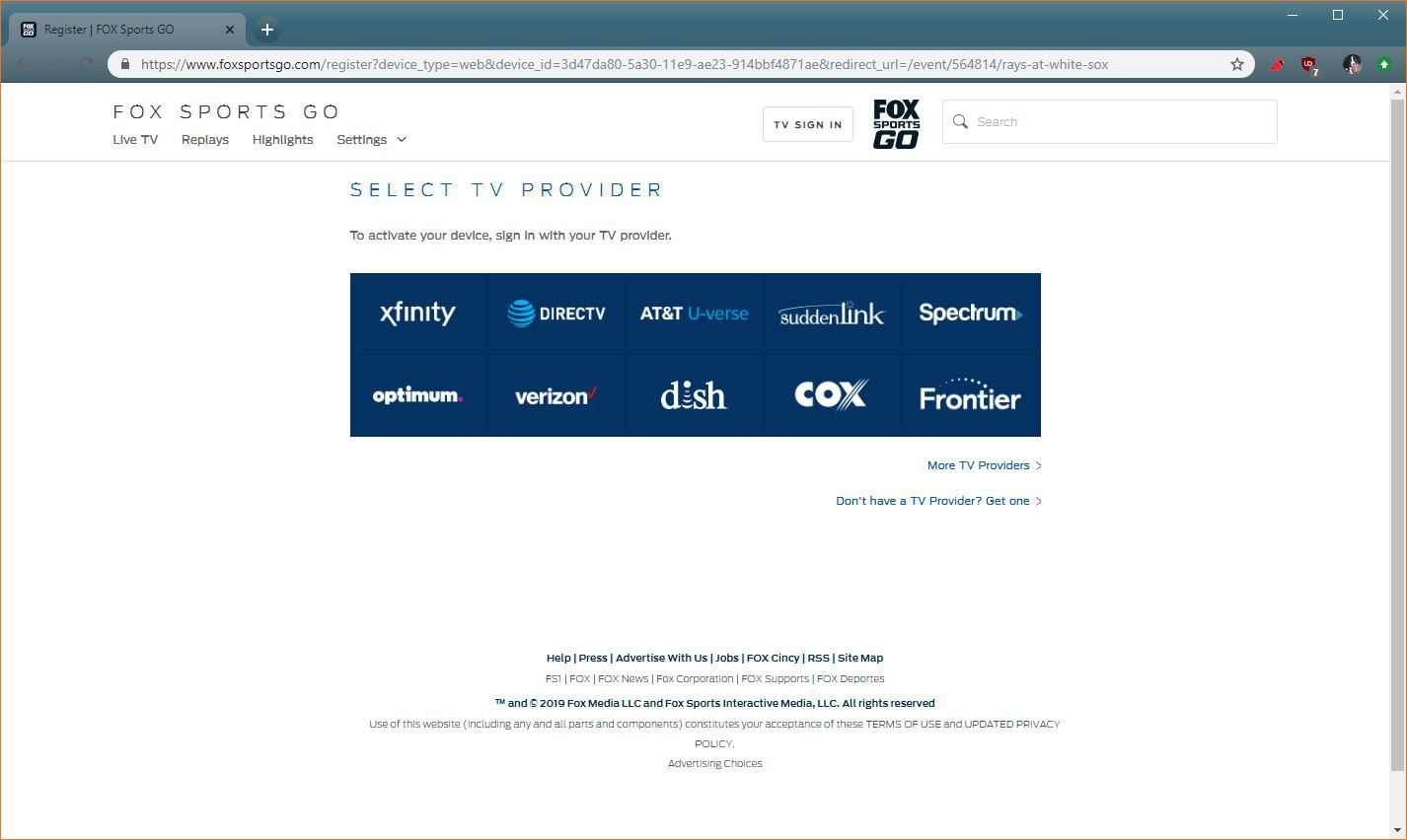 A screenshot of the FOX Sports GO TV provider selection site.