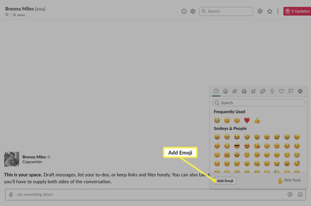 Emoji picker screen with Add Emoji highlighted