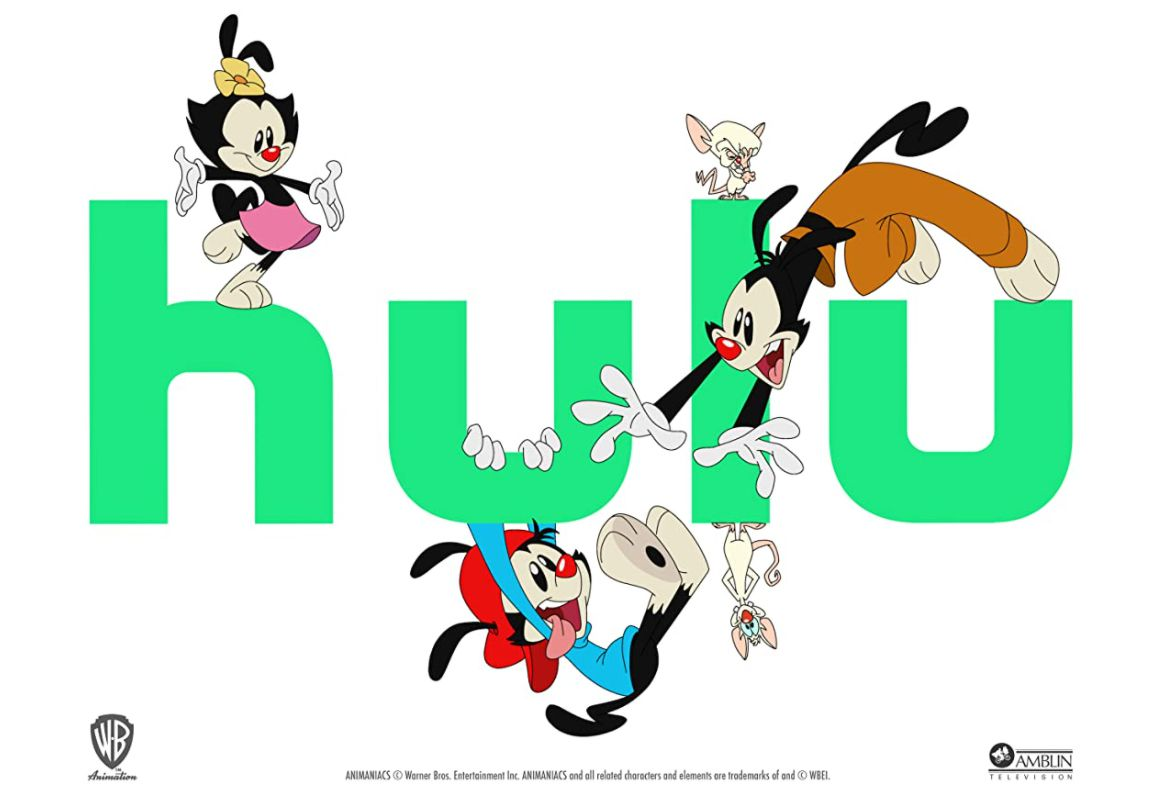 The main characters of 'Animaniacs' playing with the Hulu logo