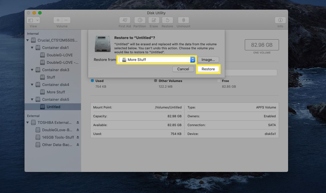 Next to Restore From, select More Stuff, and then select Restore.