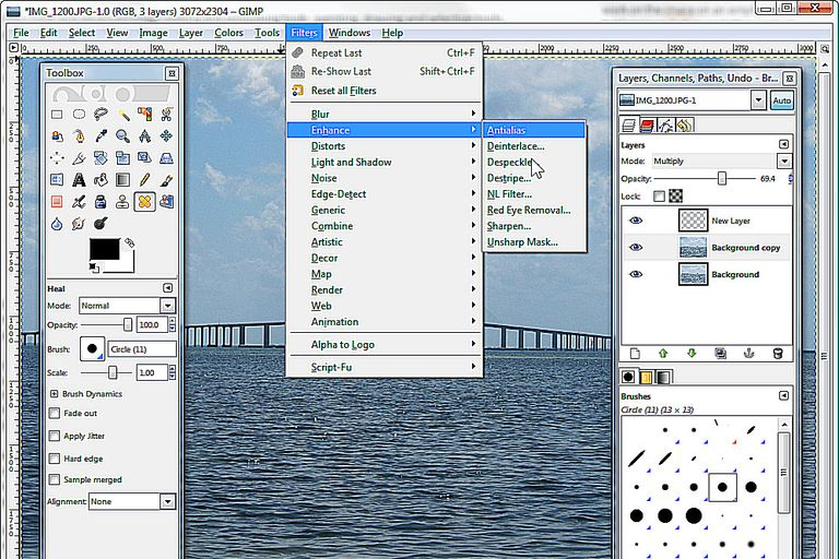 gimp how to view layers