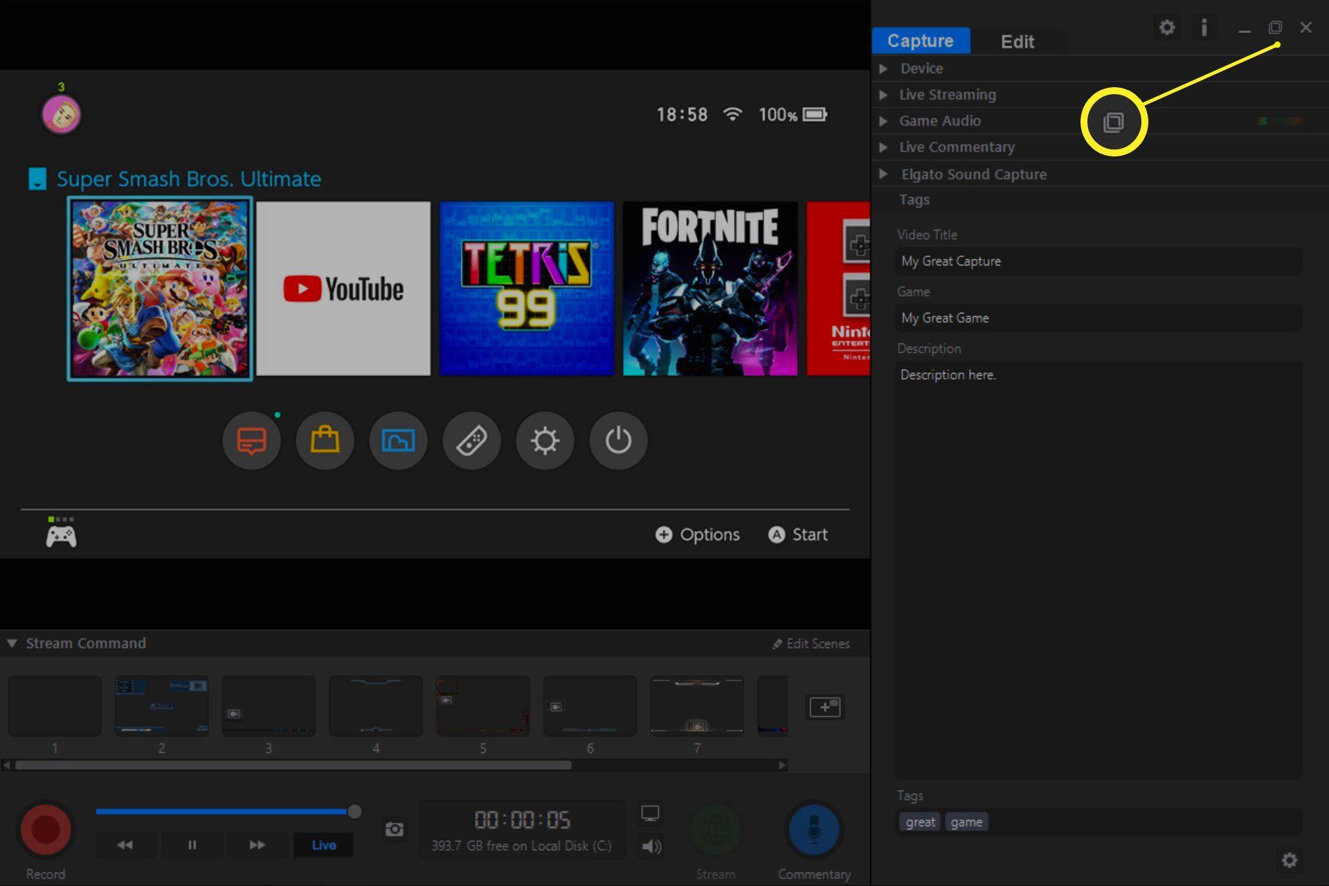 Fullscreen icon in Game Capture HD