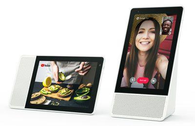 Lenovo Smart Display on a table in both horizontal and vertical setups.