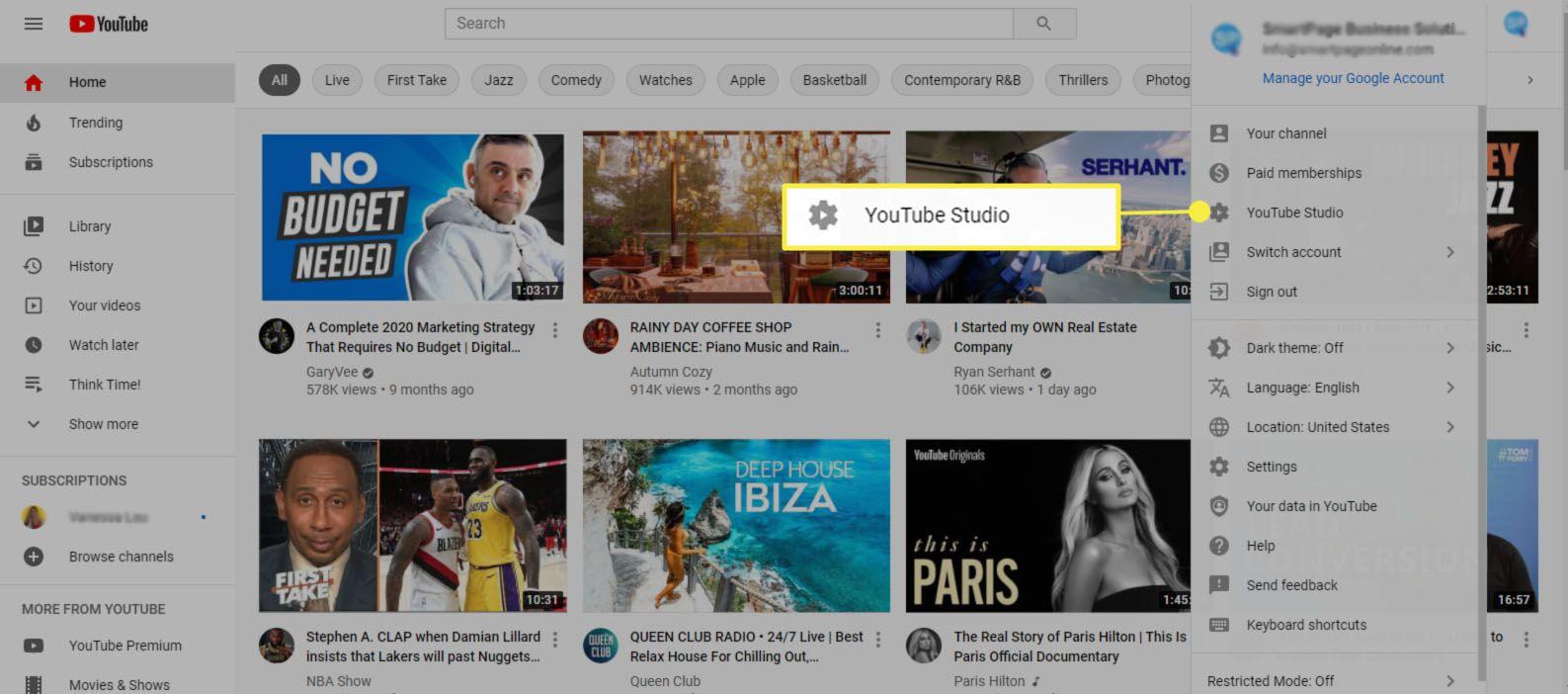 YouTube Studio - select