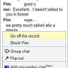 Off the record chat with gmail